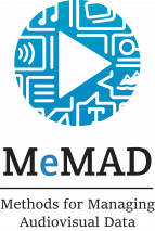 MeMAD logo, a blue play sign with icons of text, sound and images, and text MeMAD Methods for Managing audiovisual data.