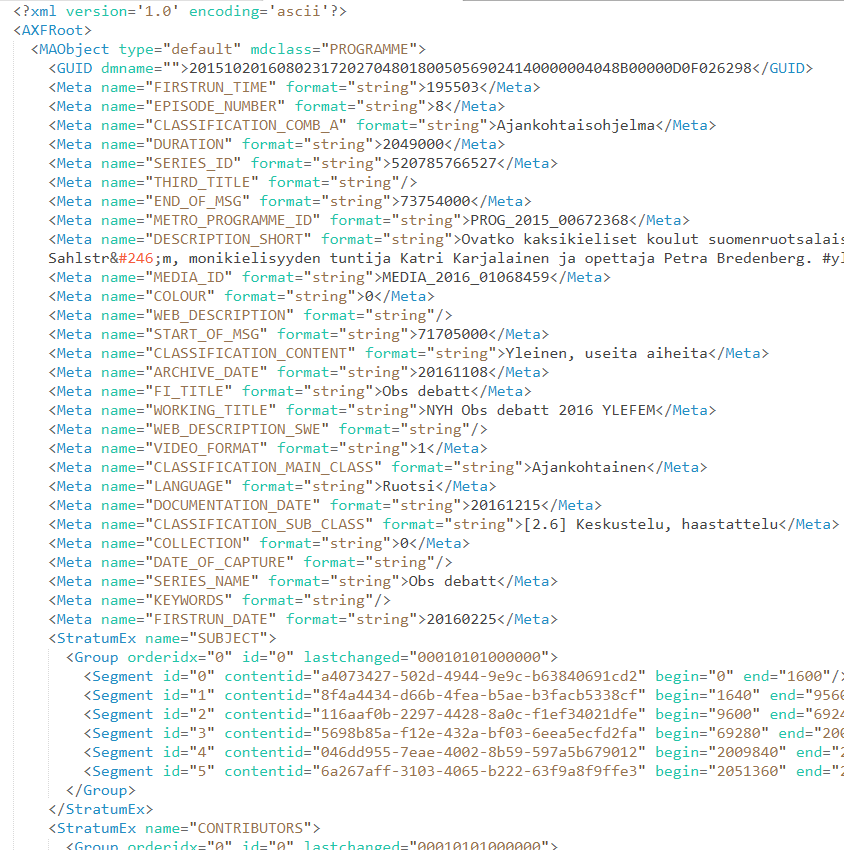 An example of XML description of program metadata.