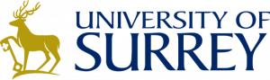 University of Surrey logo, a stag rests his front right hoof on an upturned key and the name University of Surrey.